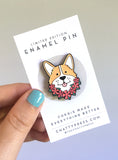 corgi enamel pin, tropical summer edition, Hawaii corgis on vacation