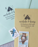 camping address stamp, personalized adventurer stationery, maine address stamp