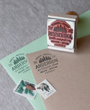 Rustic wedding date stamp, diy your wedding envelopes with a return address stamp featuring hand drawn pine trees