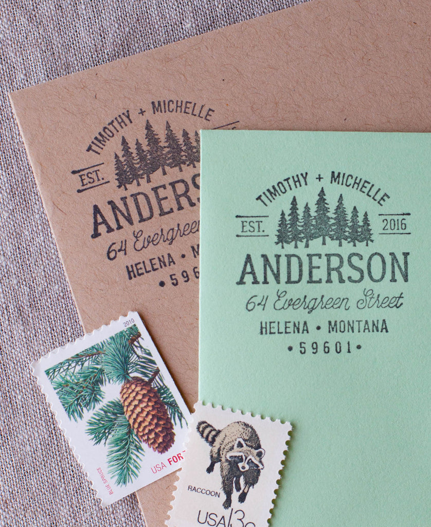 Pine tree address stamp, rustic wilderness personalized address stamper in wood handle or self inking