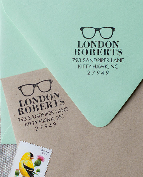Vintage Sunglasses Return Address Stamp