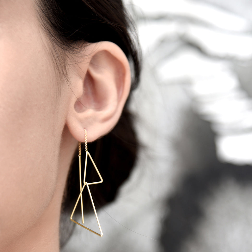 Dual triangle threader earring
