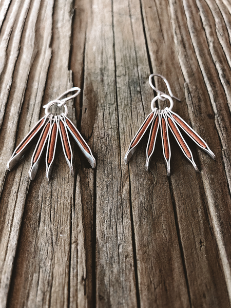 sterling and leather palm earring