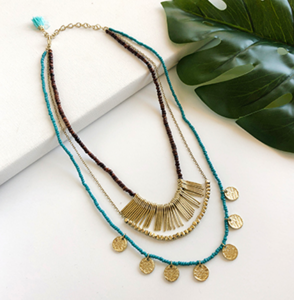 sea and earth layered necklace