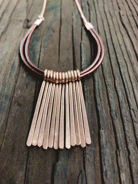 brass and leather U necklace