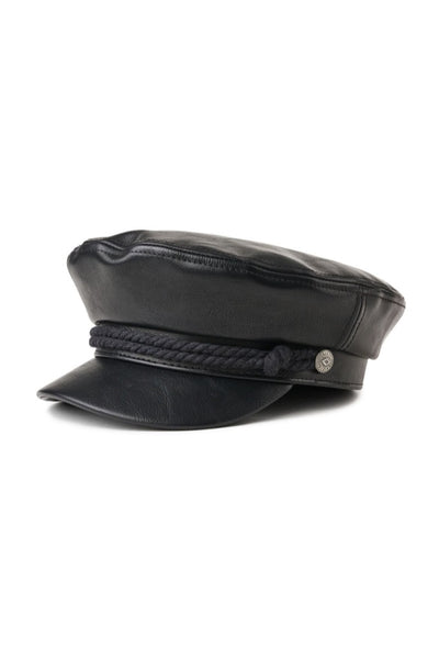 Black Vegan Leather Fiddler Cap