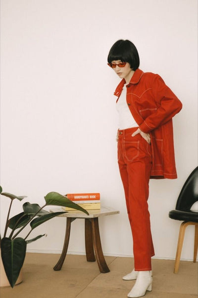 Red Twill Theodore Jacket