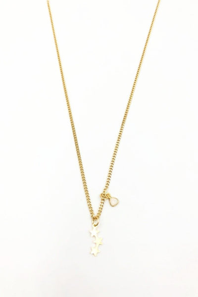 Gold Star Cluster Curb Necklace