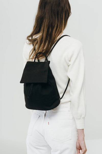 Black Canvas Mini Backpack