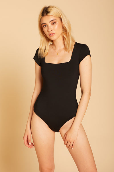 Black Fair And Square Neck Bodysuit