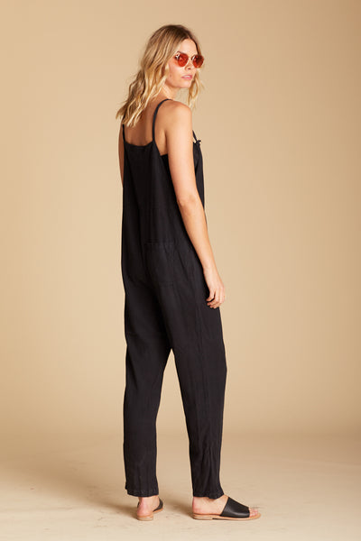 Black Raw Silk Overalls