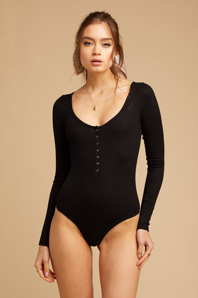 Black Snap Front Bodysuit