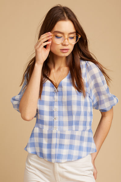 Blue Gingham Maybelle Top