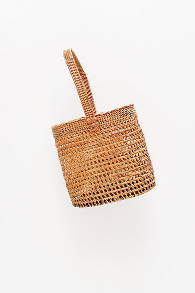 Anan Tan Top Handle Round Woven Rattan Bag