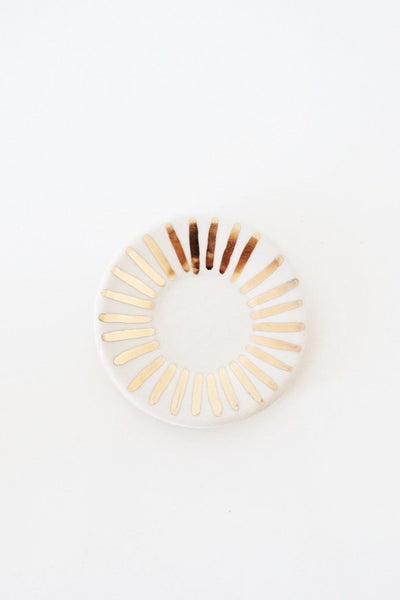 White Sunburst Ring Dish