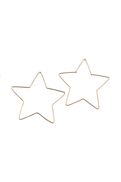Gold Large Star Hoops