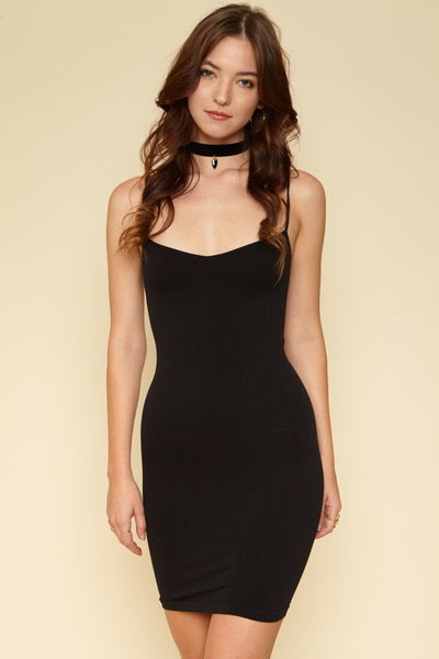 Black Seamless Mini Slip