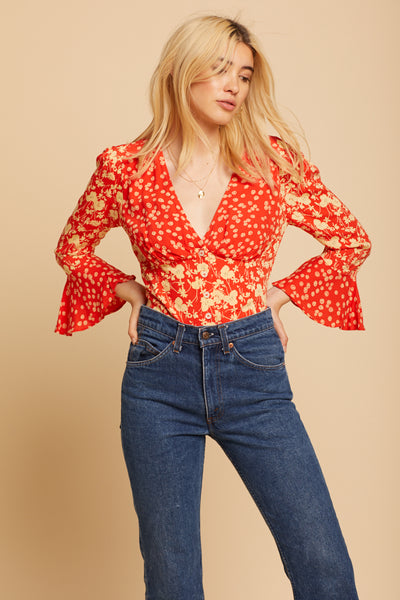 Red Lady Bohemian Top