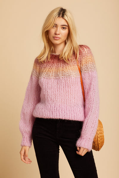 Rose Gradient Mohair Sweater