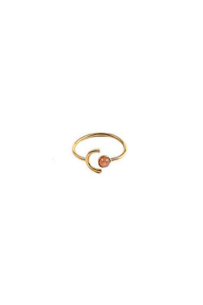 Gold Peach Moonstone Ring
