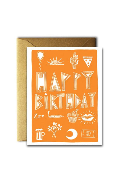 Orange Birthday Stuff Card
