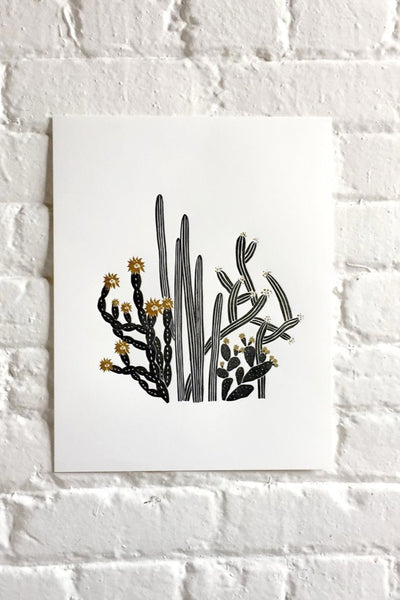 Black and Gold Cactus Print