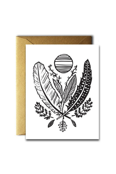 Feather And Leaf Card