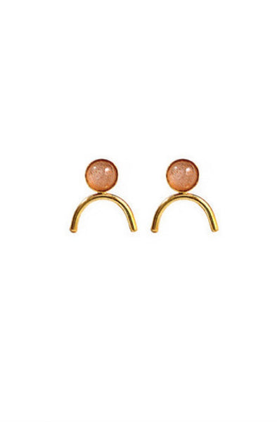 Gold Peach Stone Honeymoon Studs
