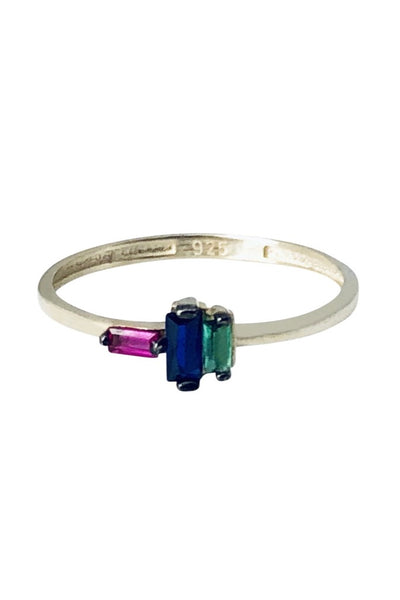 3 Rainbow Baguette Ring