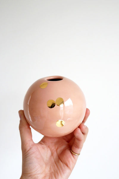 Peach Dotted Ball Vase
