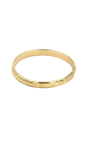 Gold Etched Half Round Ring