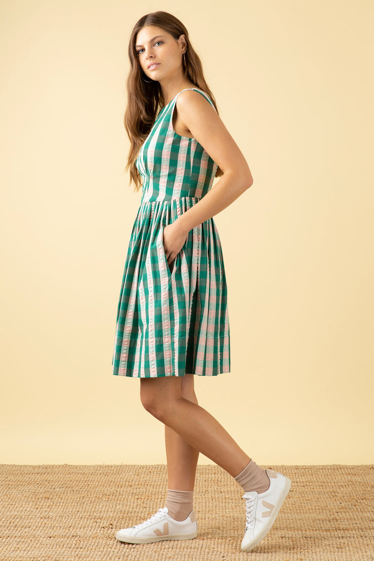 Abigail Botanical Plaid Dress