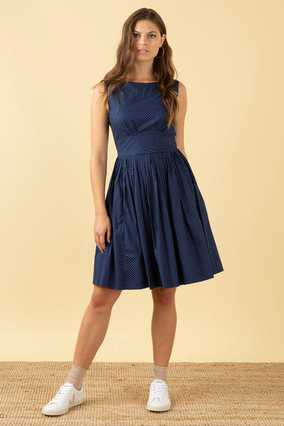 Abigail Navy Pin Dot Dress