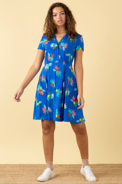 Adele Blue Summer Fruits Short Dress