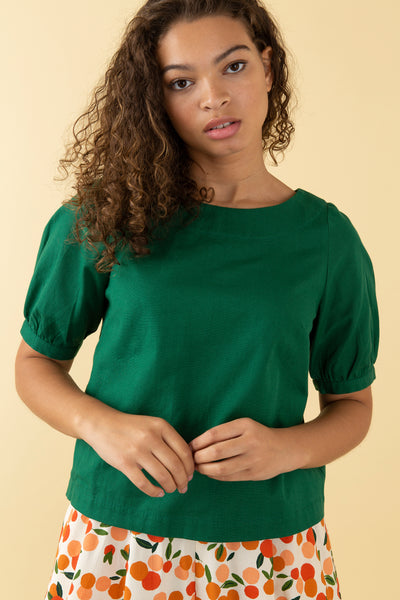 Ava Tropical Green Top