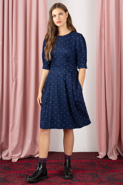 Meredith Navy Spot Dress