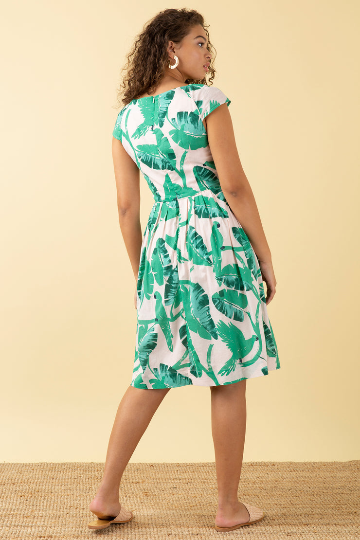 Claudia Botanical Parakeets Dress