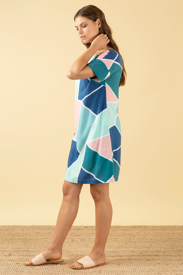 Gigi Mosaic Tile Shift Dress