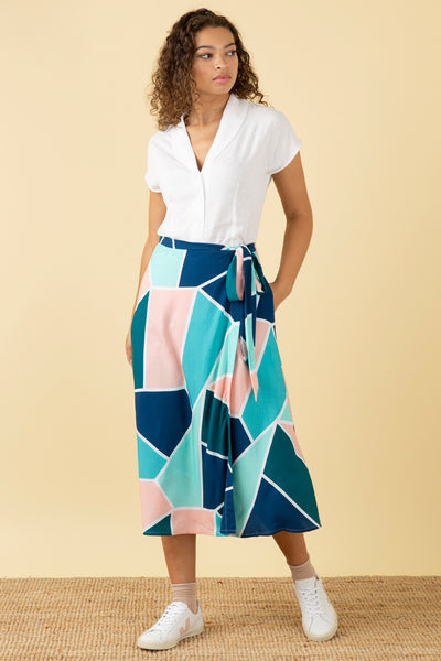 Jenna Mosaic Tile Wrap Skirt