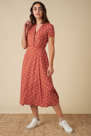 Adele Desert Rose Dot Midi Dress
