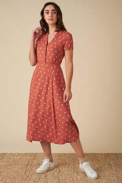 Adele Desert Rose Dot Midi Dress | Women's Midi Dress | Emily and Fin