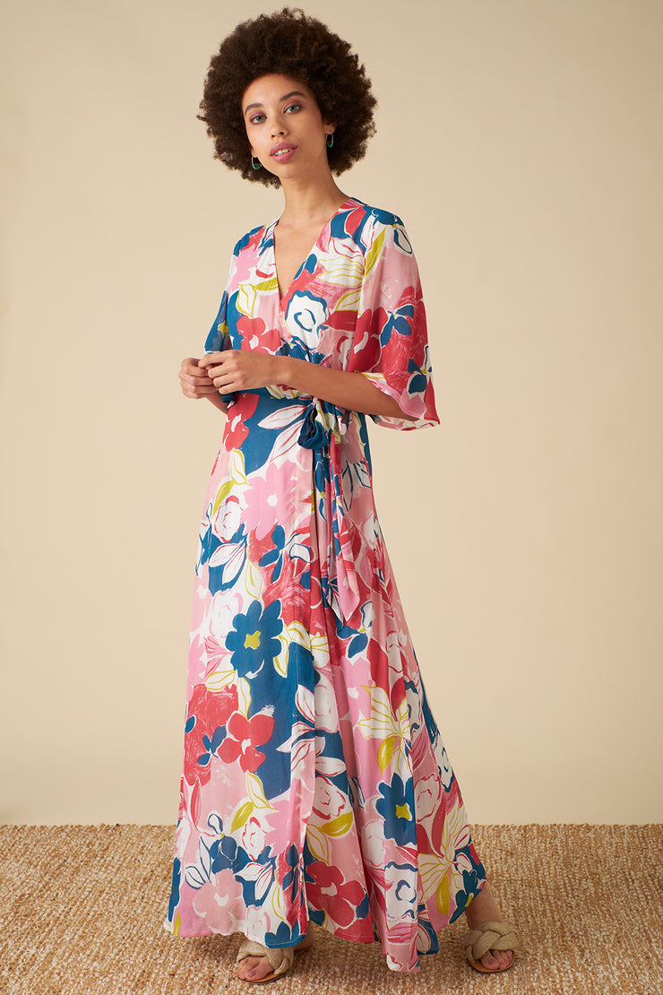 Chloe Pink Asilah Floral Wrap Dress