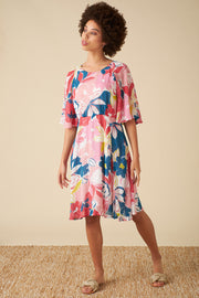 Ines Pink Asilah Floral Dress