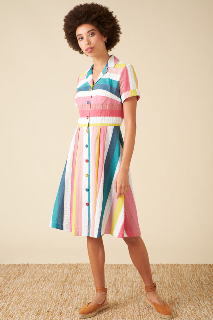 Kate Rainbow Stripe Shirt Dress