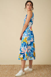 Margot Blue Asilah Floral Midi Dress