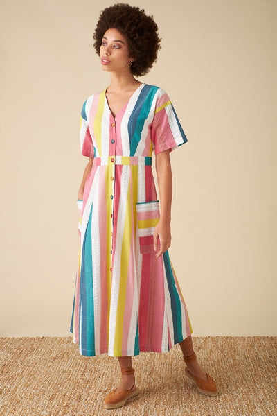 Noelle Rainbow Stripe Dress