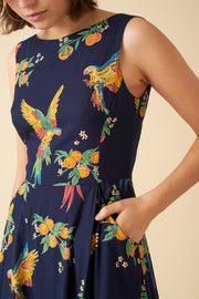 Jasmine Playful Parrots Midi Dress