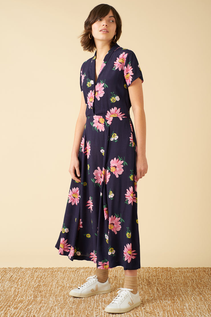Adele Autumn Gerberas Midi Dress