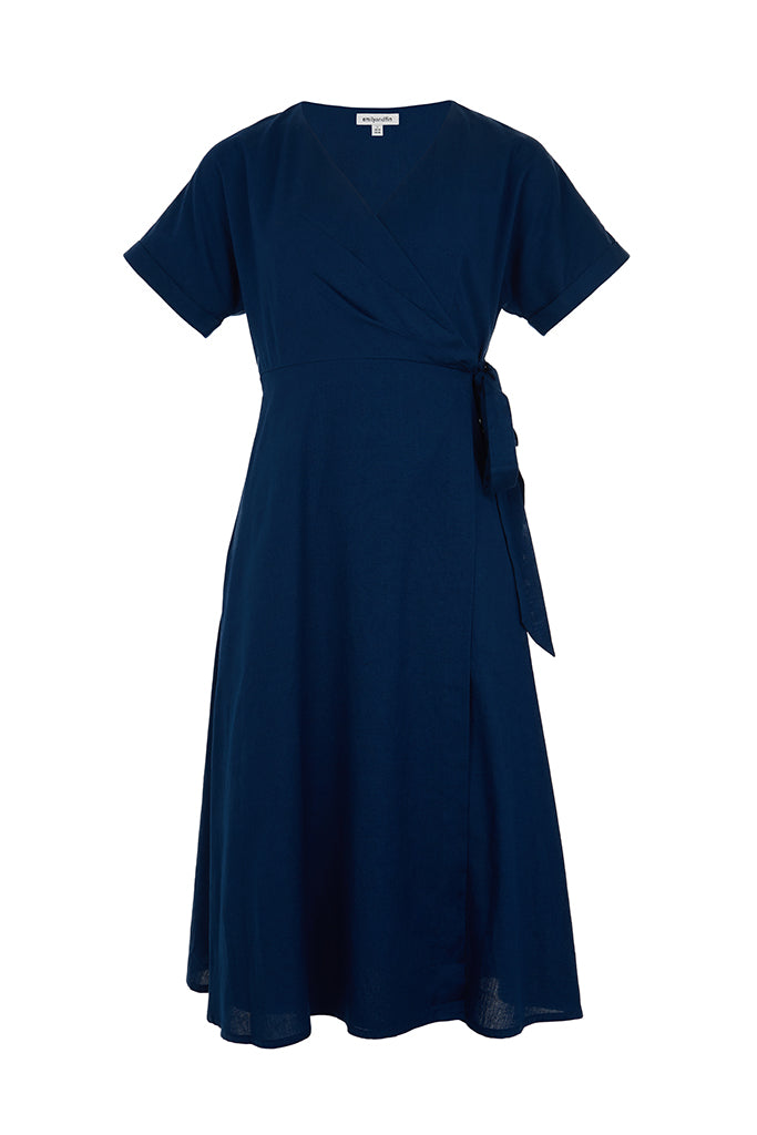 Jenna Ink Blue Wrap Dress