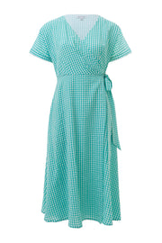 Jenna Mint Gingham Wrap Dress